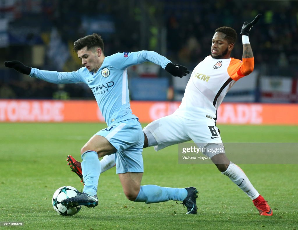 Brahim Diaz of Manchester City is challenged by Fred of Shakhtar Donetsk during the UEFA Champions League group F match between Shakhtar Donetsk and Manchester City at Metalist Stadium on December 6, 2017 in Kharkov, Ukraine.