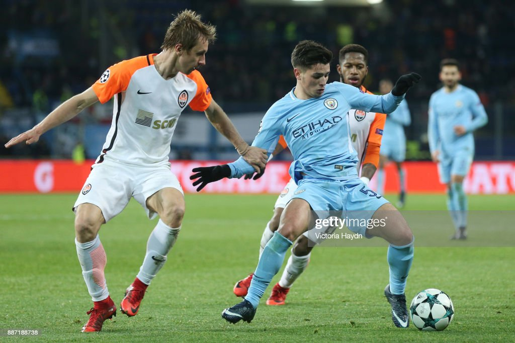 Brahim Diaz of Manchester City is put under pressure during the UEFA Champions League group F match between Shakhtar Donetsk and Manchester City at Metalist Stadium on December 6, 2017 in Kharkov, Ukraine.