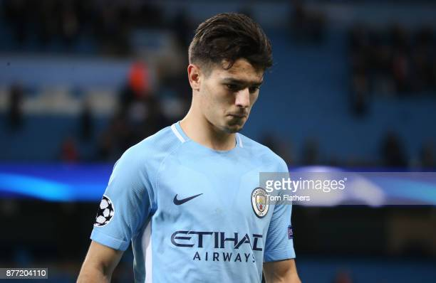 Brahim Diaz of Manchester City looks on during the UEFA Champions League group F match between Manchester City and Feyenoord at Etihad Stadium on...