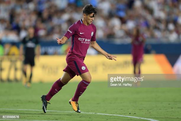 Brahim Diaz of Manchester City reacts after scoring a goal against Real Madrid during the second half of the International Champions Cup soccer match...