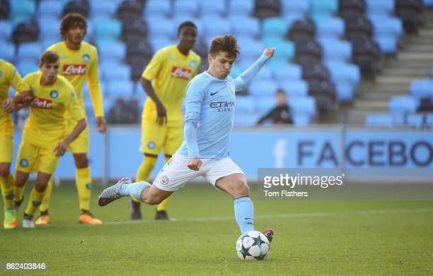Brahim Diaz of Manchester City scores their second goal from a penalty during the UEFA Youth League Group F match between Manchester City and SSC...