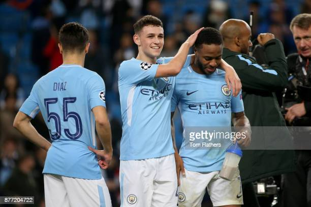 Brahim Diaz Phil Foden and Raheem Sterling of Manchester City during the UEFA Champions League group F match between Manchester City and Feyenoord at...