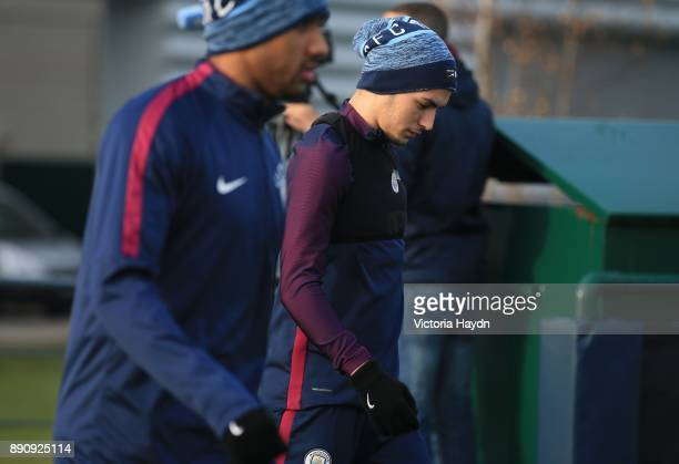 Brahim Diaz reacts during training at Manchester City Football Academy on December 12 2017 in Manchester England