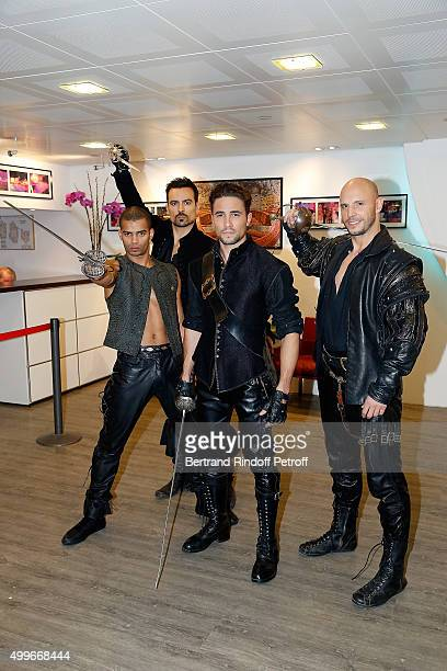 Brahim Zaibat Damien Sargue Olivier Dion and David Ban present the New Musical Comedy 'Les 3 mousquetaires' during 'Vivement Dimanche' French TV Show...