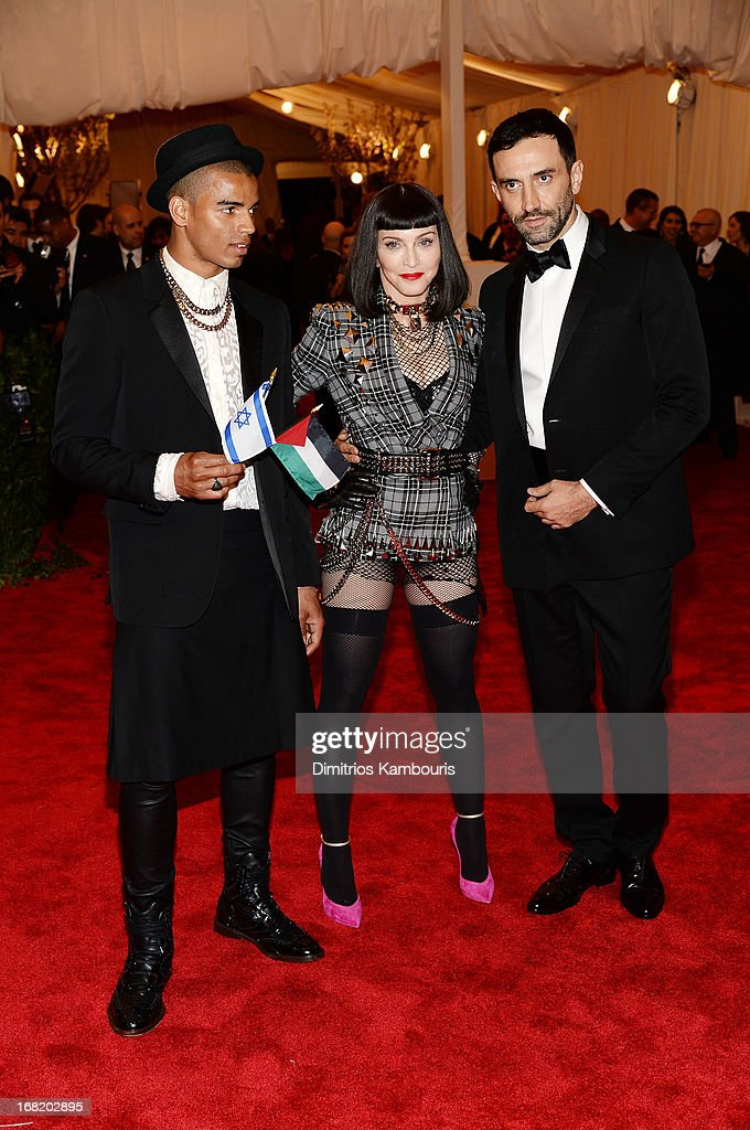 Brahim Zaibat, Madonna and designer Riccardo Tisci attend the Costume Institute Gala for the 'PUNK: Chaos to Couture' exhibition at the Metropolitan Museum of Art on May 6, 2013 in New York City.