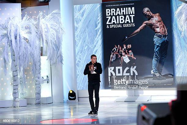 Brahim Zaibat performs and presents the 'Rock it all Tour' during the 'Vivement Dimanche' French TV Show at Pavillon Gabriel on December 17 2014 in...
