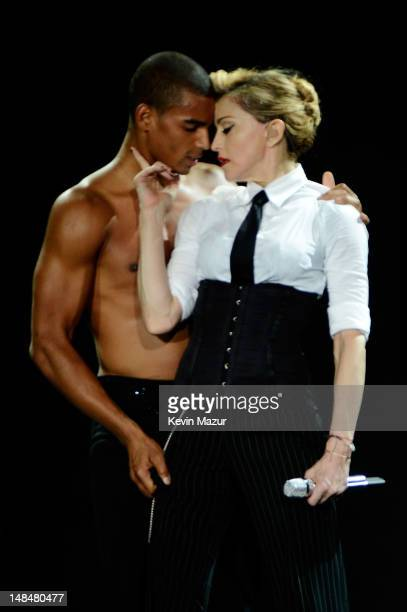 Brahim Zaibat performs onstage with Madonna during her MDNA Tour at Hyde Park on July 17 2012 in London England