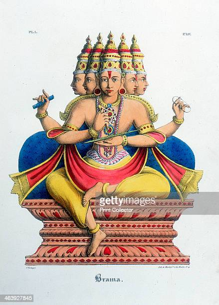 Brahma first god of the Hindu trinity and creator of the universe c19th century From L'Inde Francaise