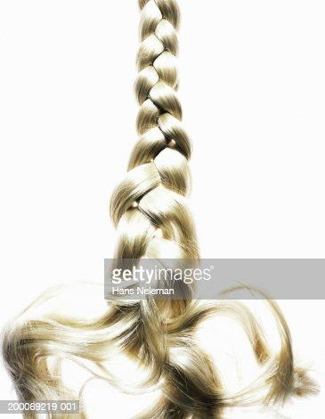 Braided blond hair, close up : Stock Photo
