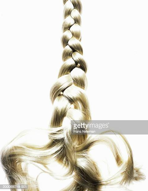 Braided blond hair, close up
