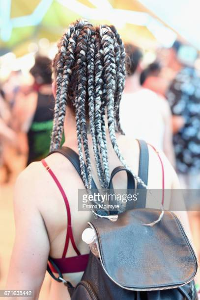 Braided hair detail of a festivalgoer attending day 2 of the 2017 Coachella Valley Music Arts Festival at the Empire Polo Club on April 22 2017 in...