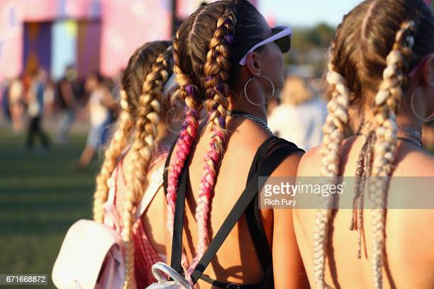 Braided hair detail of festivalgoers during day 2 of the 2017 Coachella Valley Music Arts Festival at the Empire Polo Club on April 22 2017 in Indio...