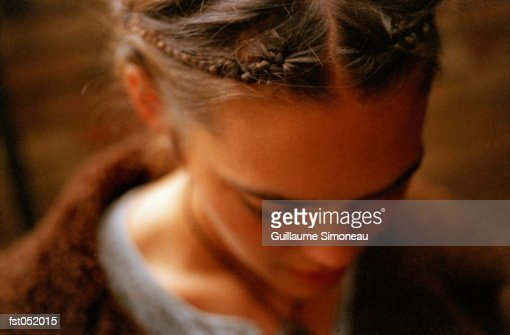 Braids in a young woman's hair