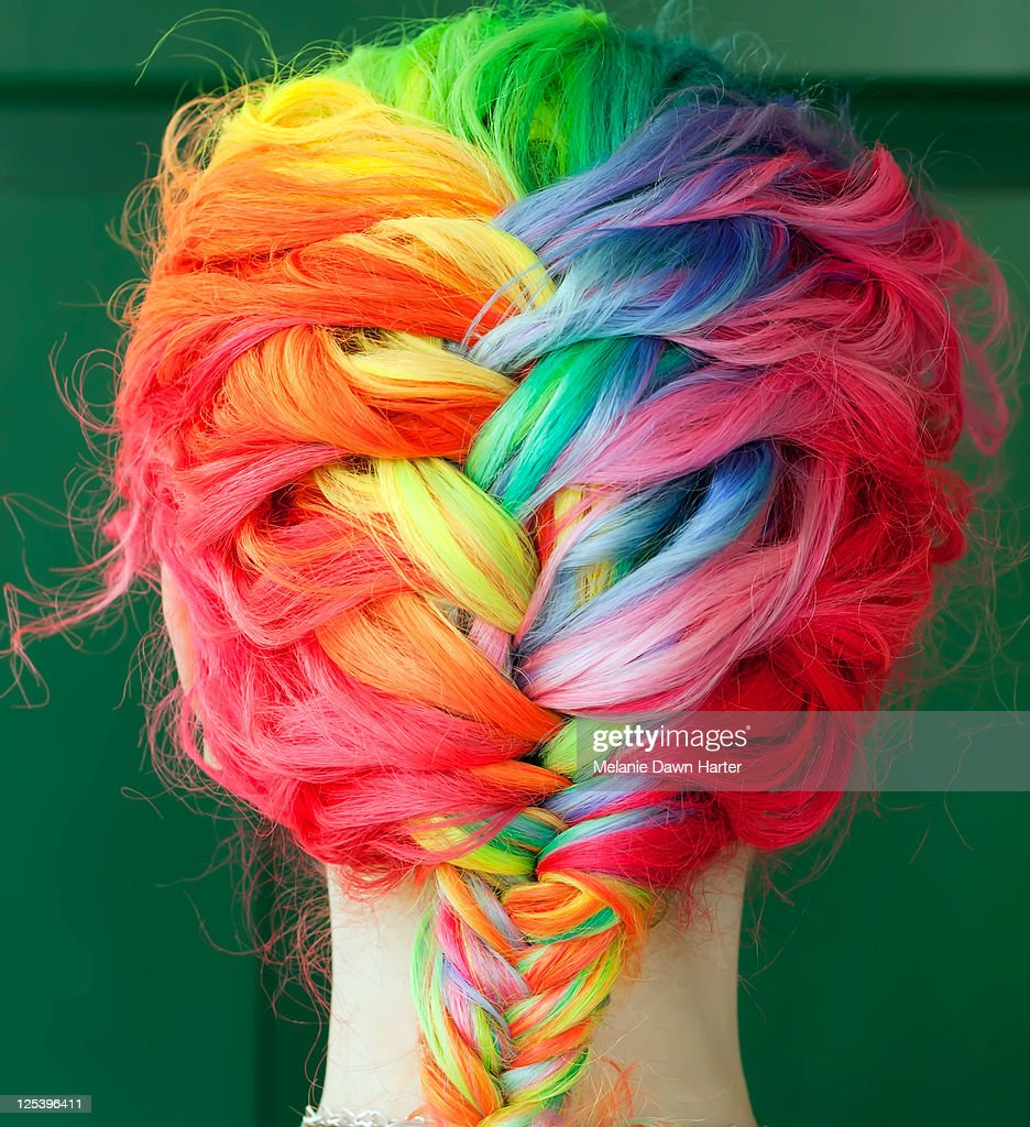 Braids of colored hair : Stock Photo