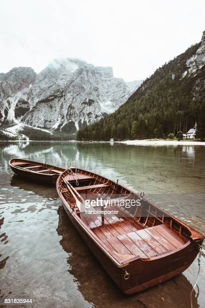 braies lake with wooden boat