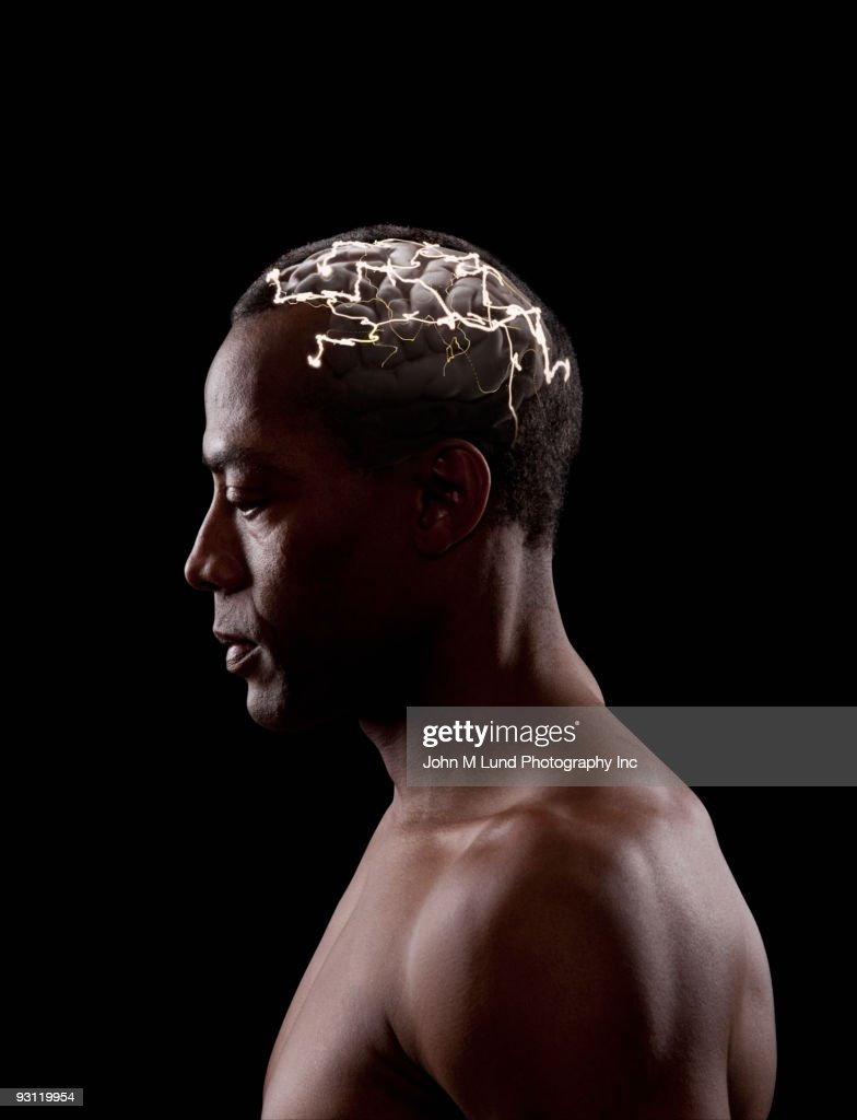 Brain activity of mixed race man : Stock Photo