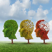 Brain aging and memory loss due to Dementia and Alzheimer's disease with the medical icon of a group of color changing autumn fall trees in the shape of a human head losing leaves as a loss of thought