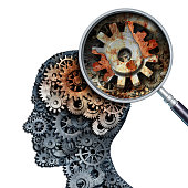 Brain decline and dementia or aging as memory loss concept for brain cancer decay or an Alzheimer's disease with the medical icon of a old rusting mechanical gears and cog wheels of metal in the shape