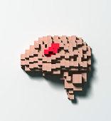 Brain disease made of wooden blocks