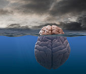 Brain floating in stormy sea