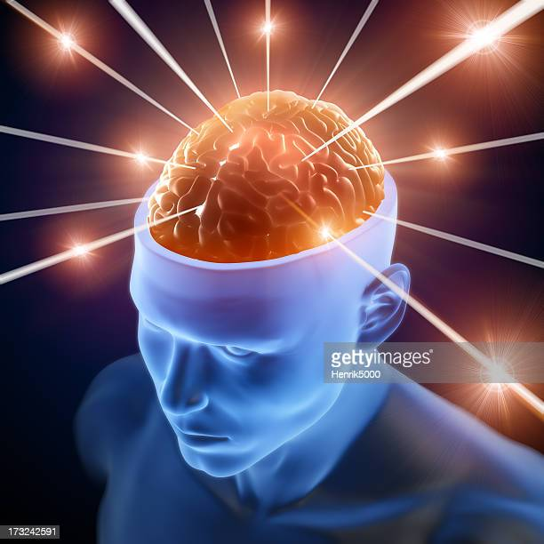 Brain in head receiving rays of information