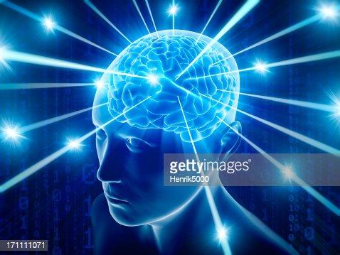 Brain in head with hi-tech cyber theme