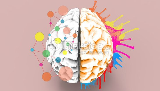Brain left and right creativity functions   Sketch concept : Stock Photo