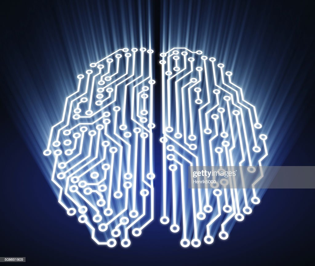 Brain made out of circuits : Stock Photo