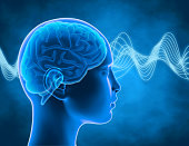 Brain waves thinking process, concentration concept blue background.