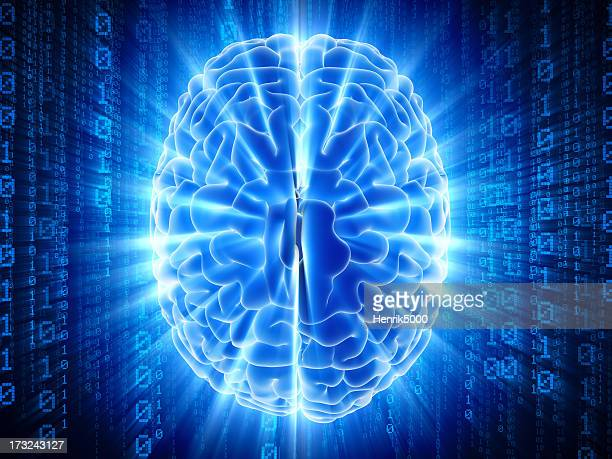 Brain with hi-tech cyber theme
