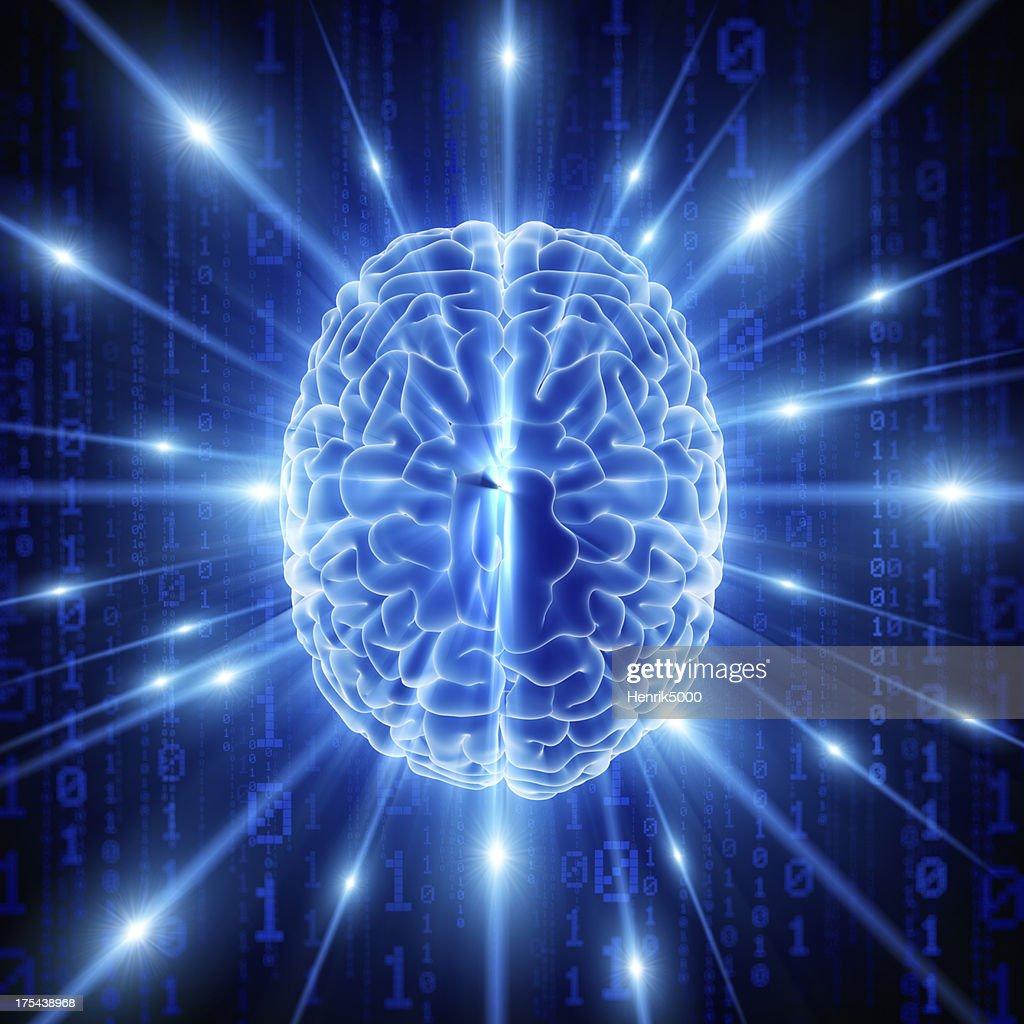 Brain with hi-tech cyber theme