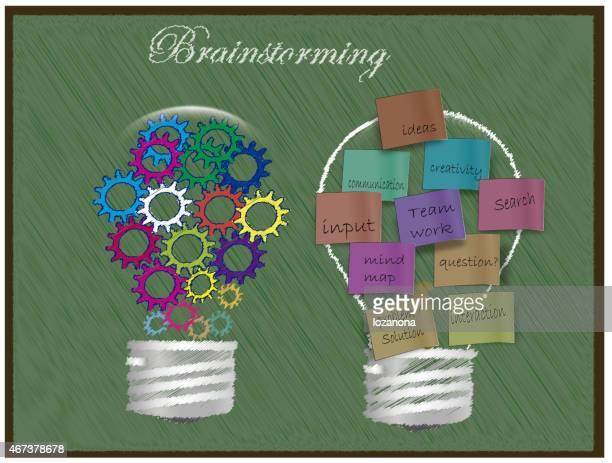 concept de Brainstorming sur tableau blanc Colorful Post-its