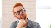Brainstorming, Thinking Pensive Man with Beard and Red Hairs, Portrait