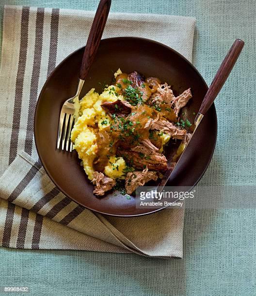 Braised lamb over polenta