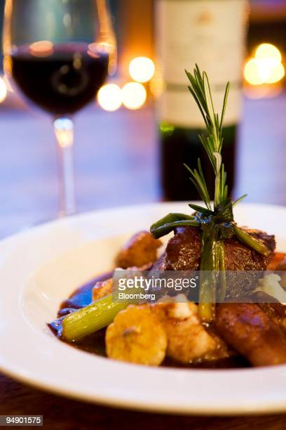 Braised short ribs served with root vegetables and mashed potatoes is arranged at Tree in the East Village neighborhood of New York US on Thursday...