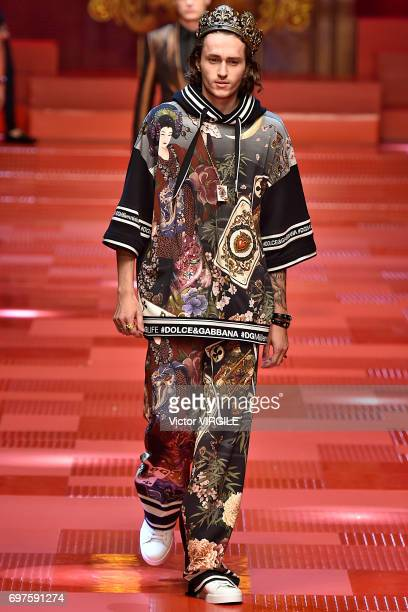 Braison Cyrus walks the runway at the Dolce Gabbana show during Milan Men's Fashion Week Spring/Summer 2018 on June 17 2017 in Milan Italy