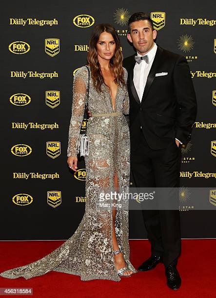 Braith Anasta and Jodi Anasta arrive at the Dally M Awards at Star City on September 29 2014 in Sydney Australia