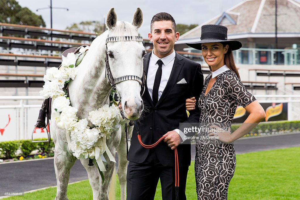 Braith Anasta and Jodi Anasta pose at the launch of the 2014 Sydney Spring Carnival at Royal Randwick Racecourse on September 2, 2014 in Sydney, Australia.