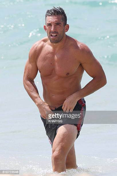 Braith Anasta is seen during a workout at a beach on February 16 2016 in Sydney Australia