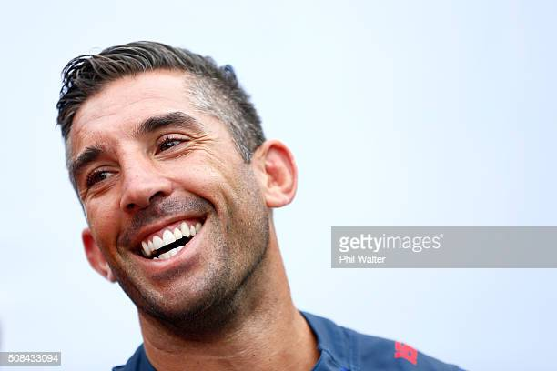 Braith Anasta of the Roosters during a NRL Auckland Nines captains press conference at Aotea Square on February 5 2016 in Auckland New Zealand