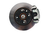 Brake disk and the wheel assembly isolated on white background with clipping path