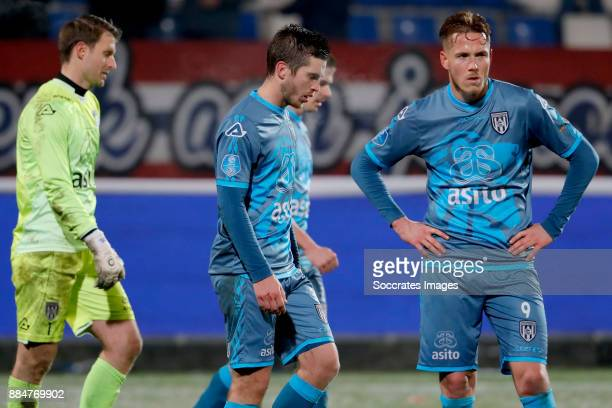 Bram Castro of Heracles Almelo Dries Wuytens of Heracles Almelo Paul Gladon of Heracles Almelo during the Dutch Eredivisie match between Willem II v...