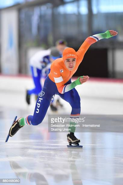 Bram Cohen of Netherlands performs during the Men 500 Meter at the ISU Junior World Cup Speed Skating at Max Aicher Arena on November 26 2017 in...