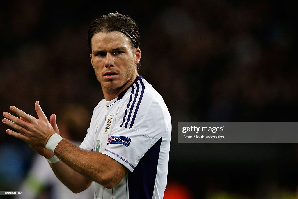 Bram Nuytinck of Anderlecht in action during the UEFA Champions League Group C match between RSC Anderlecht and AC Milan at the Constant Vanden Stock Stadium on November 21, 2012 in Anderlecht, Belgium.