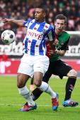 Bram Nuytinck of NEC Kevin Conboy of NEC during the Dutch Eredivisie match between NEC Nijmegen and SC Heerenveen at the Goffert Stadium on April 14...