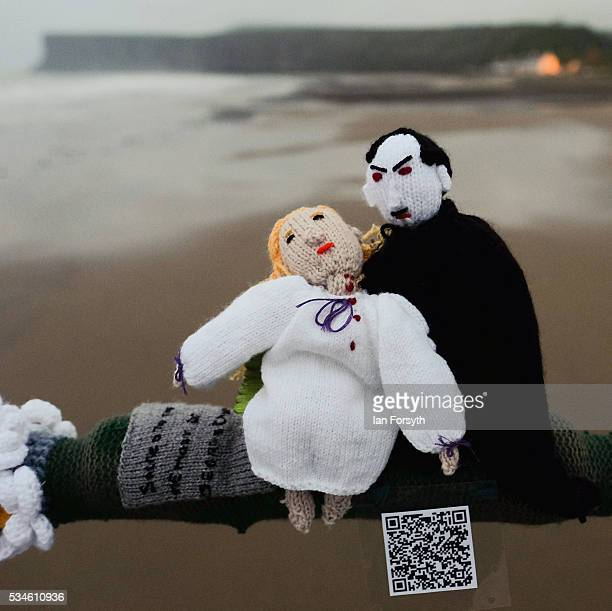 Bram Stoker's Dracula character is depicted by a secretive group of knitters known as the Saltburn Yarn Stormers have left a display of knitting...