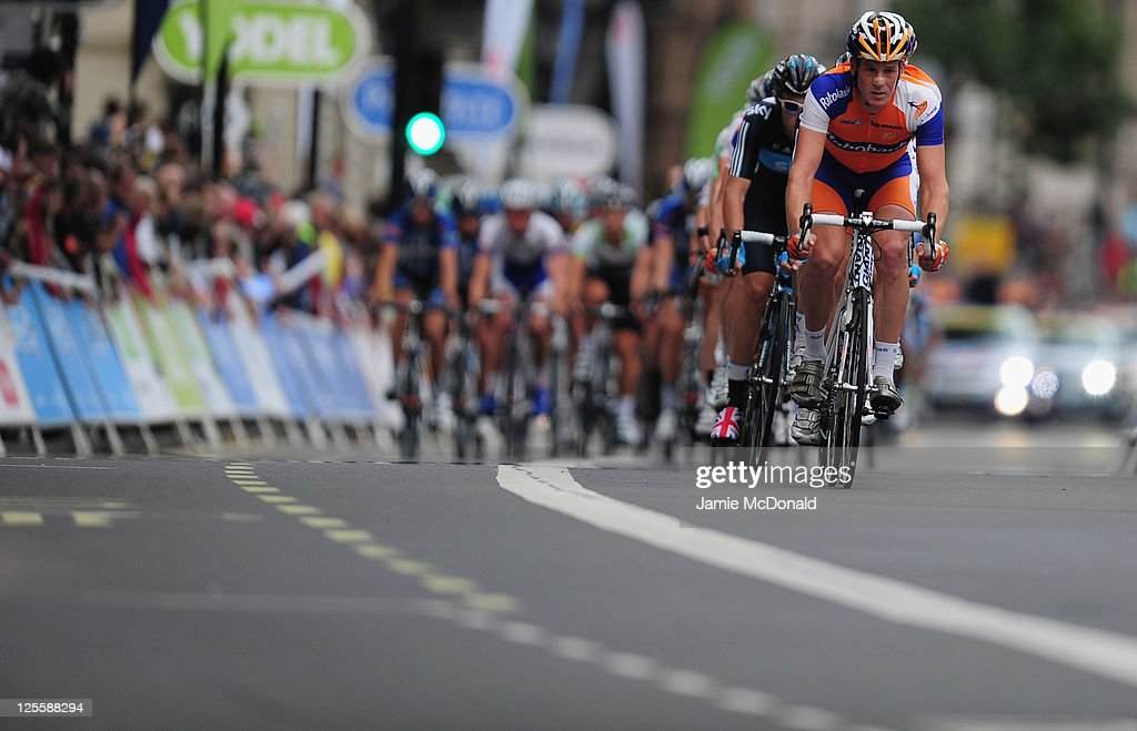<a gi-track='captionPersonalityLinkClicked' href=/galleries/search?phrase=Bram+Tankink&family=editorial&specificpeople=747985 ng-click='$event.stopPropagation()'>Bram Tankink</a> of Team Rabobank leeds the Pelaton during Stage Eight of the Tour of Britain in London on September 18, 2011 in London, England.