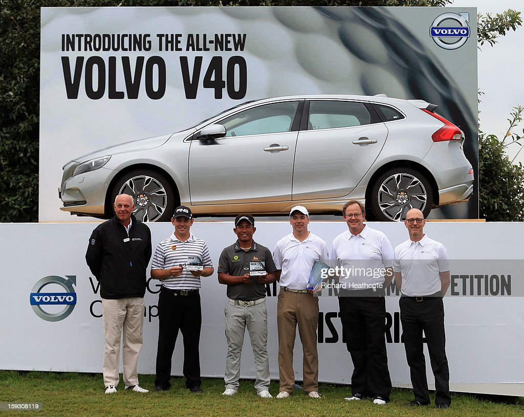 Bram Van der Reep, Managing Director, Volvo Car South Africa, Louis Oosthuizen of South Africa, Thongchai Jaidee of Thailand, Amateur Colin Ledworth of England, Per Ericsson, President, Volvo Event Management and Torbjorn Christensson, President, Volvo Group Southern Africa pose with the prize for the Amateur-Pro competition during the second round of the Volvo Champions at Durban Country Club on January 11, 2013 in Durban, South Africa.