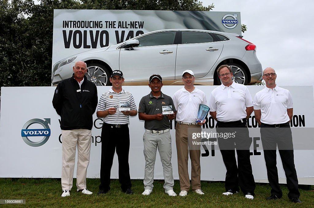Bram Van der Reep, Managing Director, Volvo Car South Africa, Louis Oosthuizen of South Africa, Thongchai Jaidee of Thailand, Amateur, Colin Ledworth of England, Per Ericsson, President, Volvo Event Management and Torbjorn Christensson, President, Volvo Group Southern Africa pose with the prize for the Amateur-Pro competition after the second round of the Volvo Golf Champions at Durban Country Club on January 11, 2013 in Durban, South Africa.