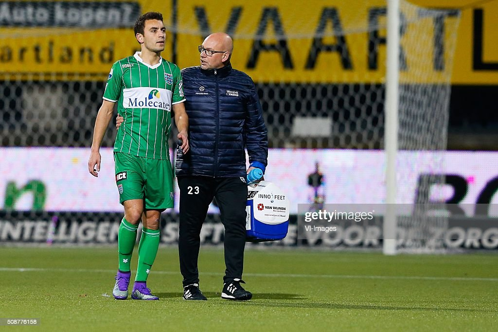 Bram van Polen of PEC Zwolle, caretaker Erwin Vloedgraven of PEC Zwolle during the Dutch Eredivisie match between Heracles Almelo and PEC Zwolle at Polman stadium on February 06, 2016 in Almelo, The Netherlands